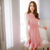 Women Wool Stitching Lace Puff Sleeve Dress