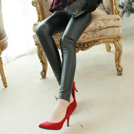 Brushed Faux Leather Leggings