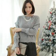 Round Neck Tassel Sweater