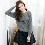 Plaid Stitching Knit Dress