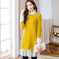 Knitted Round Neck Lace Stitching Long Top