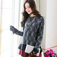 Lace Stitching Chiffon Long-Sleeved Blouse