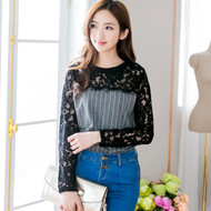 Lace Collar Striped Top