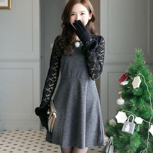 Lace Sleeve Stitching Dress