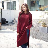 Slit-Side Long Rib-Knit Dress