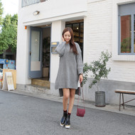 Drop-Shoulder Rib-Knit Dress