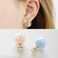 Rhinestone and Bead Double-Stud Earrings