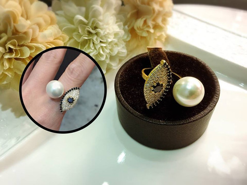 Playful Evil Eye Faux Pearl Cuff Ring