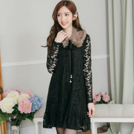 Brushed Fur Collar Long-Sleeved Lace Dress