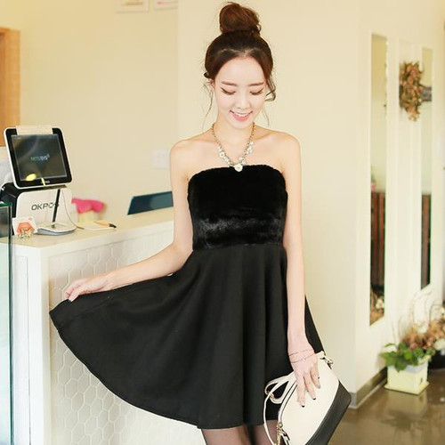 Faux Fur Stitching Dress