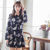 Flower Print Suede Collar Dress
