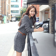 V-Neck Knit Dress with Belt