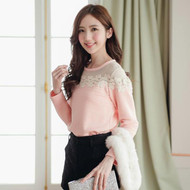 See Through Lace Stitching Cotton Top