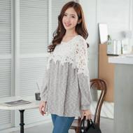 Flower Lace Stitching Cotton Shirt