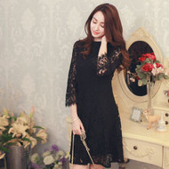 Elbow-Sleeve Lace Dress