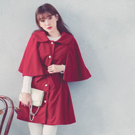 Long Sleeve Drawstring Waist Cape Coat