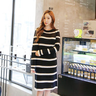 Striped Knit Midi Dress