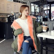 Peach Fur Slim Line Field Jacket
