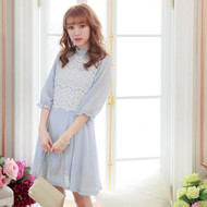 Lace Stitching Chiffon Dress
