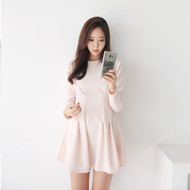 Boat-Neck Gathered Waist Mini Dress