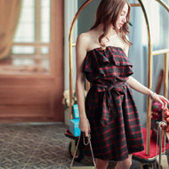 Off Shoulder Plaid Dress