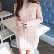 V Neck Cable Knit Tunic