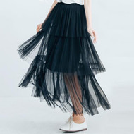 Gauze Maxi Layer Cake Pleated Skirt