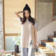 Round Neck Slit Front Long Knit Vest