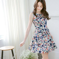 Floral Pleated Chiffon Dress