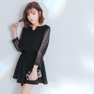 Lace Drawstring Sleeve Dress