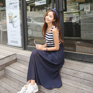 Striped Sleeveless Midi Dress