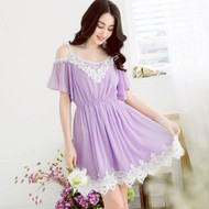 Lace Strapless Chiffon Dress