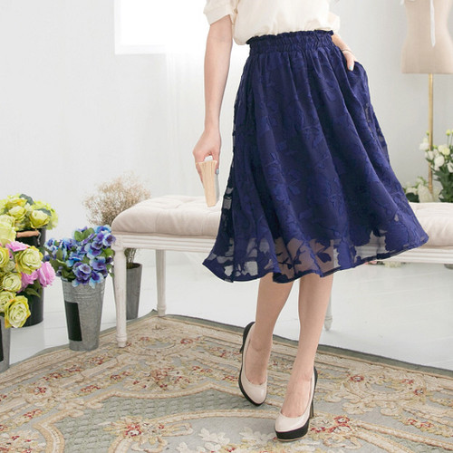 Solid Color Jacquard Knee-Length Skirt