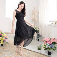 Woven Flower Chiffon Dress