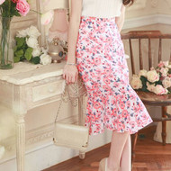 Printed Chiffon Fishtail Knee Skirt
