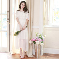 Lace Flower Decoration Chiffon Maxi Dress