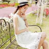 Eyelash Lace Sleeveless Vest Dress