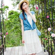 Denim Lace Two-Piece Dress