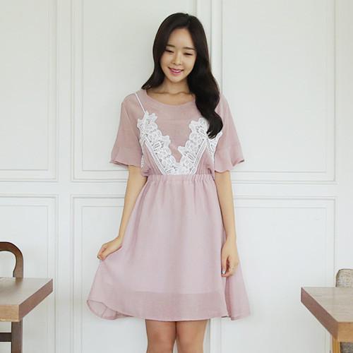 Pink Lovely Lace Dress