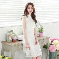 Pearl Buckle Lace Collar Waisted Dress
