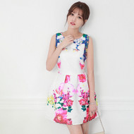 Embossed Print Sleeveless Dress