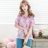 Off The Shoulder Flower Print Blouse