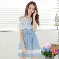 Hollow Lace Strapless Dress