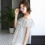 Off The Shoulder Plaid Shirt