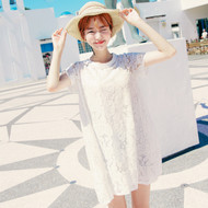 Two Pieces Lace Flower Round Neck Dress