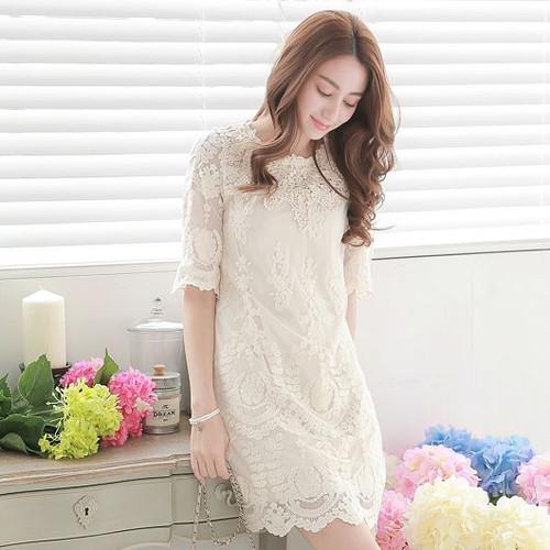 Flower Print Lace Dress