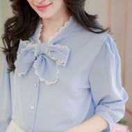 Lace Trim Bow Tie Blouse
