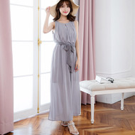 Plain Sleeveless Chiffon Maxi Dress