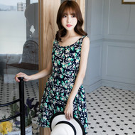 Flower Print Sleeveless V-Neck Dress