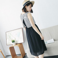 Stripes Stitching Chiffon Dress